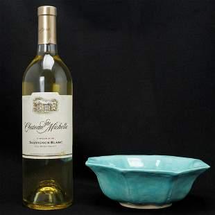 Chinese Turquoise/Aqua Octagonal Ceramic Bowl Late