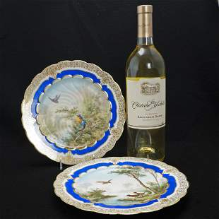 Pair of Hand Painted French Guerin & Cie Limoges Dinner