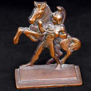 Pair of Bookends of Roman Horseman by Littco Iron circa