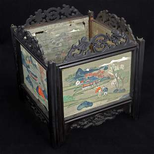 Chinese Wood and Painted Silk Lamp Surround/Shade 19th