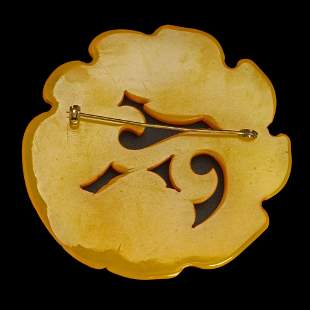 Very Large High Relief Butterscotch Bakelite Pin