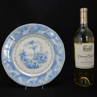 English Chinoiserie Staffordshire Transferware Plate