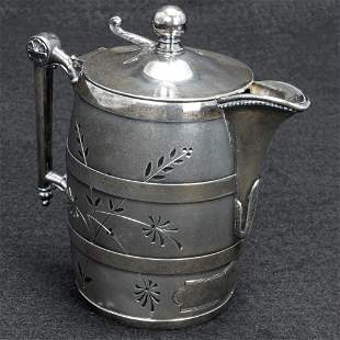 Victorian Simpson Hall Miller Silver Plate Syrup Barrel