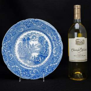 English Staffordshire Transferware Plate Rhine Pattern
