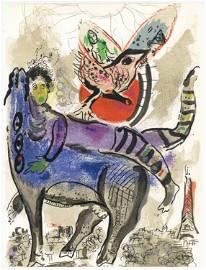 """Marc Chagall """"La vache bleue"""" original lithograph"""