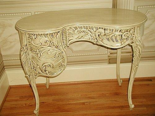 109: French Vanity Desk Kidney Shaped Highly Carved C.1