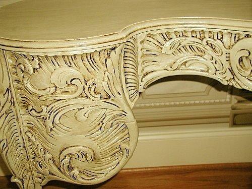 109: French Vanity Desk Kidney Shaped Highly Carved C.1 - 5