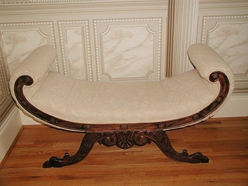 111: Mahogany Curled Bench Carved Italian Brocade C.188