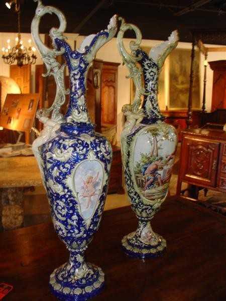 334 Pair Of Tall Antique Italian Vases