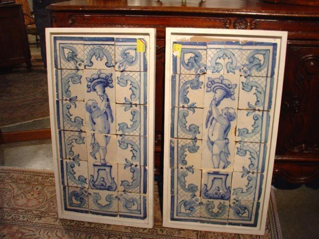 535: Pair of Plaques Made from Blue and White Antique T