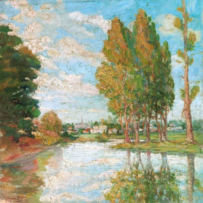 604: Maximilien Luce Oil Painting Original Art, The Riv