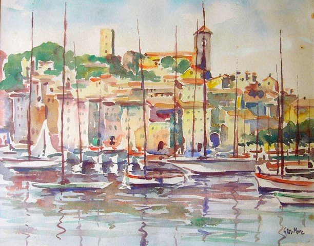 19: Original Art Gen Marc Watercolor, Boats in the Dock