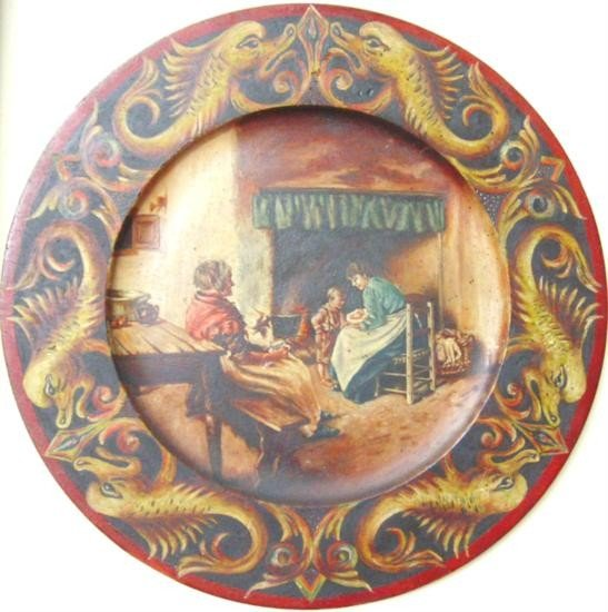 23: European Oil on Wood Plate Painting Family in Kitch