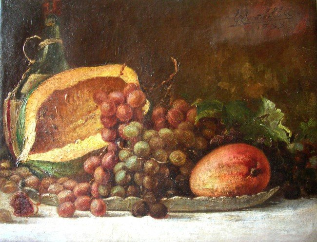 24: 19th Century Latin American Oil Painting , Still Li