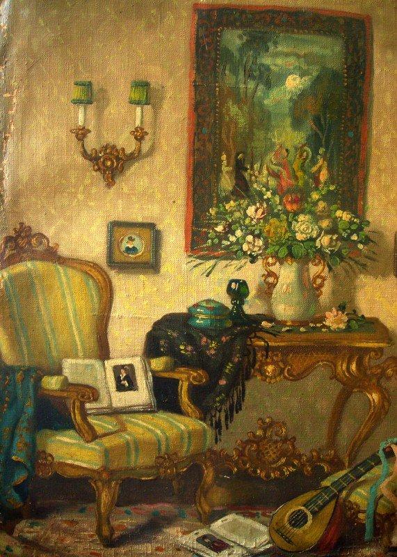 48: Patrick W. Adam Oil Painting Original Art Interior  - 2
