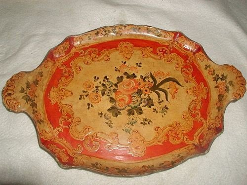120: Papier mache Tray Handled Vibrant Coloring Early 1