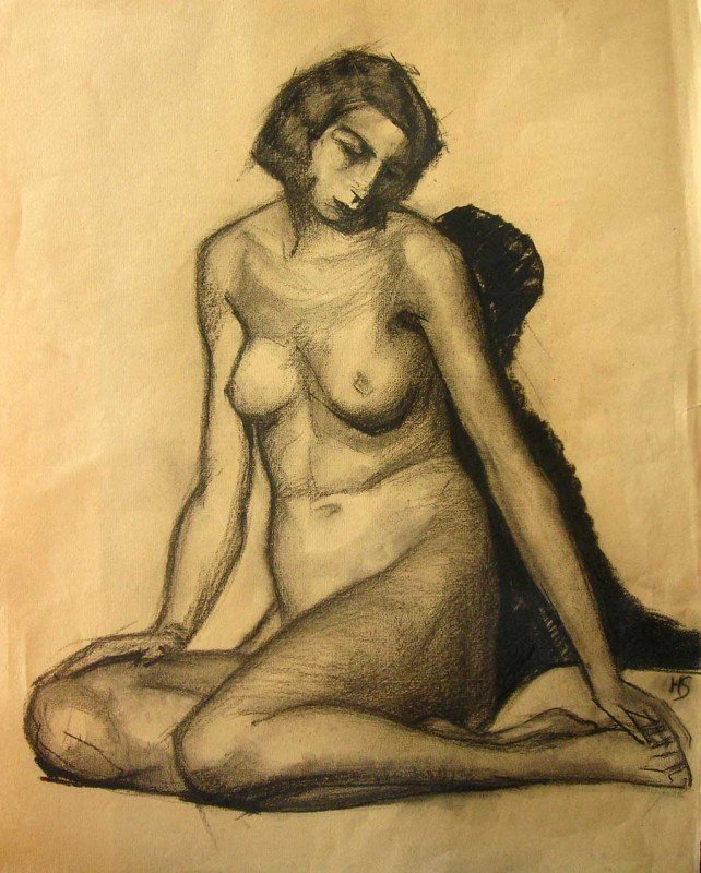 9: Helene Schufenecker Drawing Original Art Nude Woma