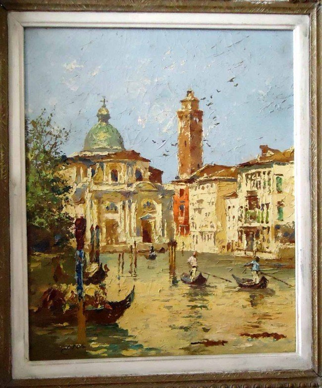 12: Carl Moll Oil Painting Original Art The City Canal