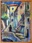 13: George Grosz Watercolor Original Art Stairway
