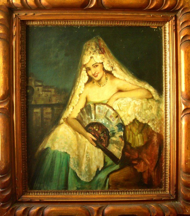 16: Sweden Oil Painting Art End of 19th Century Old Mas