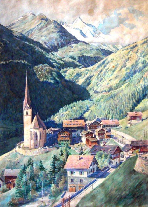 22: Georges Croegaert Watercolor Original Art, The Vill