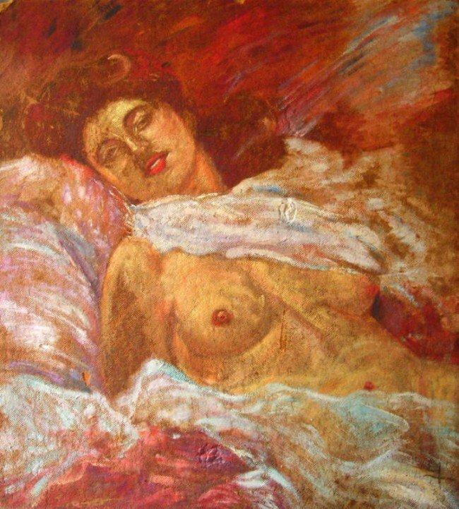 26: Mos BIANCHI Oil Painting Original Art, Nude Woman