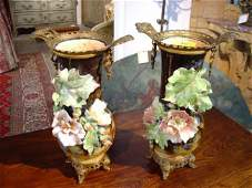 424 Pair of French Gros Relief Barbotine Vases with Or