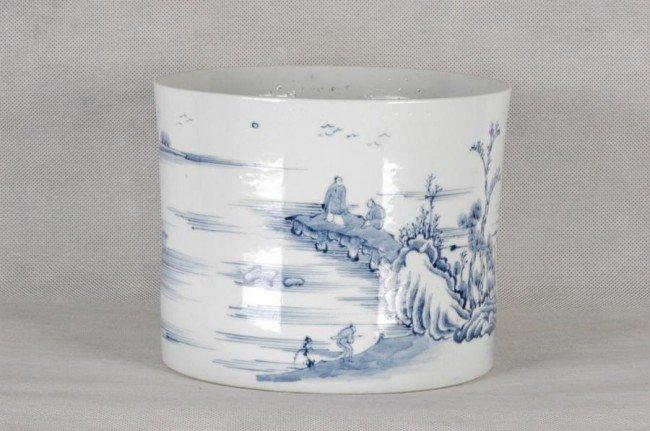 539: Large Chinese Blue and White Brush Pot Yongzheng P