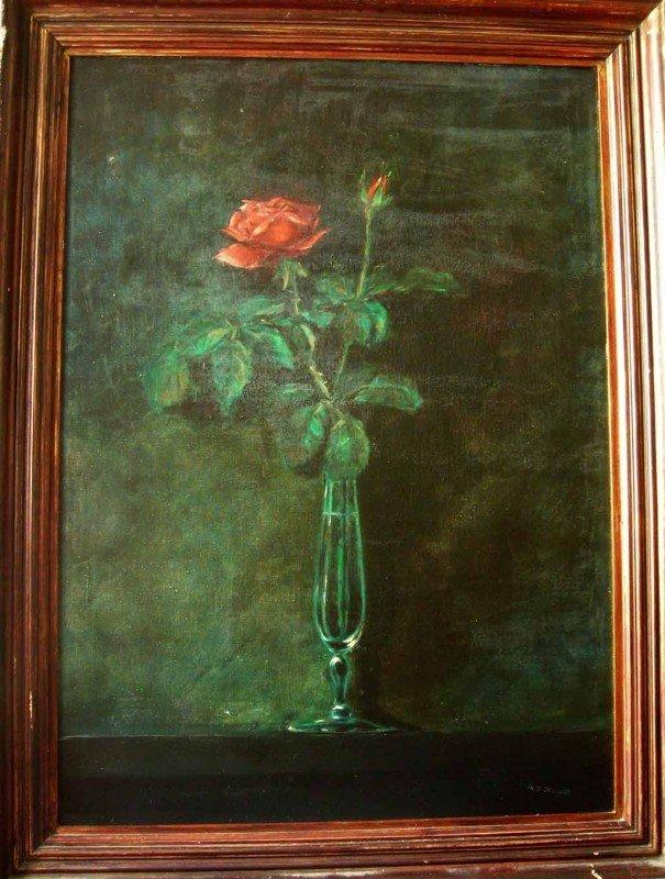 1: Martin Johnson Heade Oil Painting Original Art Red