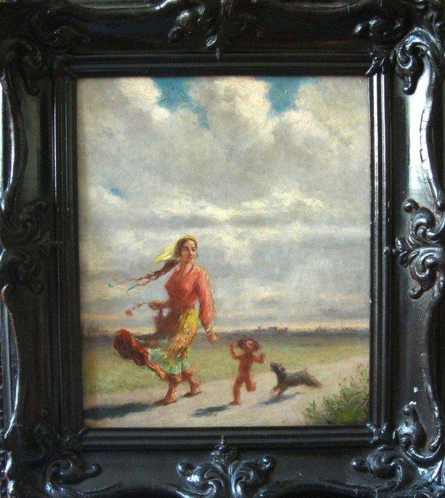 2: Federico Zandomeneghi Oil Painting, Woman, Boy and