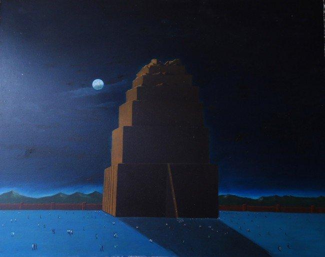 3: Charles R. Sheeler Oil Painting Original Art, Buildi