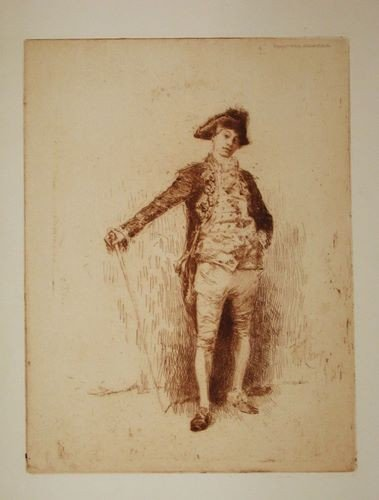 """146: Robert Frederick Blum original etching """"An Italian"""