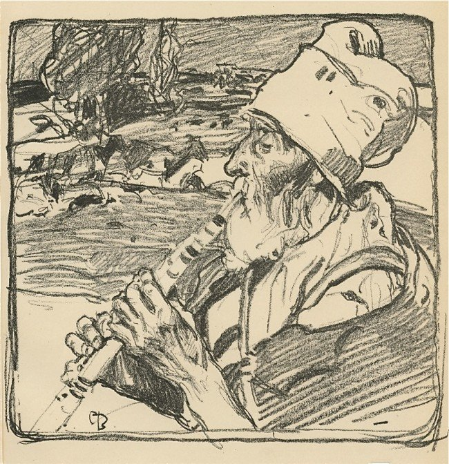 "207: Frank Brangwyn original lithograph ""The Goatherd"""