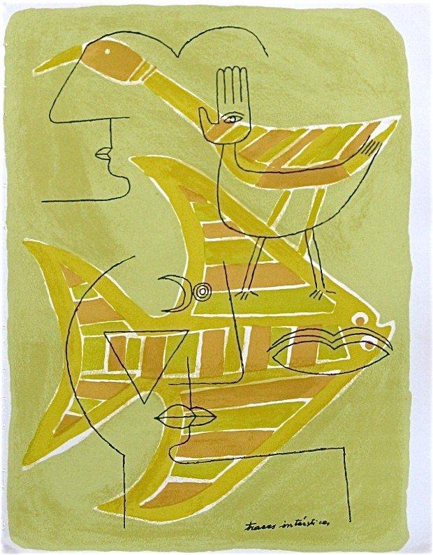 "233: Victor Brauner ""Traces interstices"" original litho"