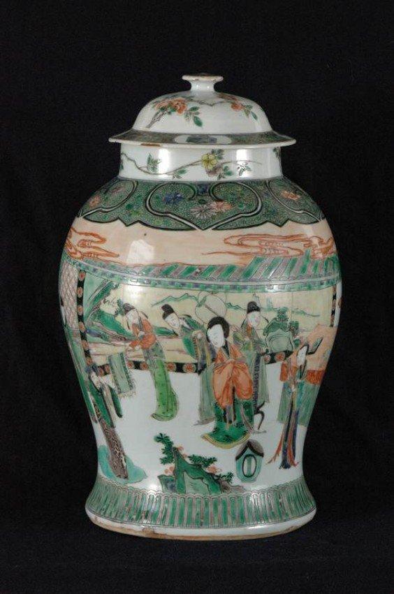 820: Large Antique Chinese Wucai Jar w People 19C