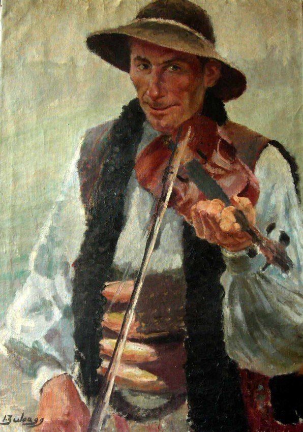 Ignacio Zuloaga Oil Painting Original Art Violinis