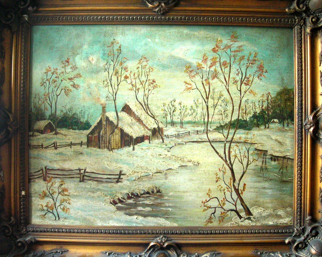 Boris Kustodiyev Oil Painting Original Art House in Sno