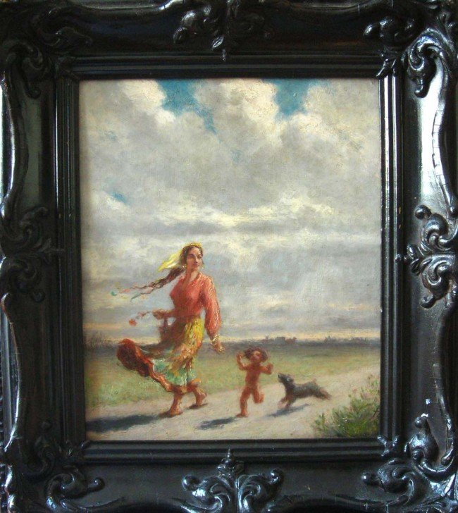 Federico Zandomeneghi Oil Painting, Woman, Boy and