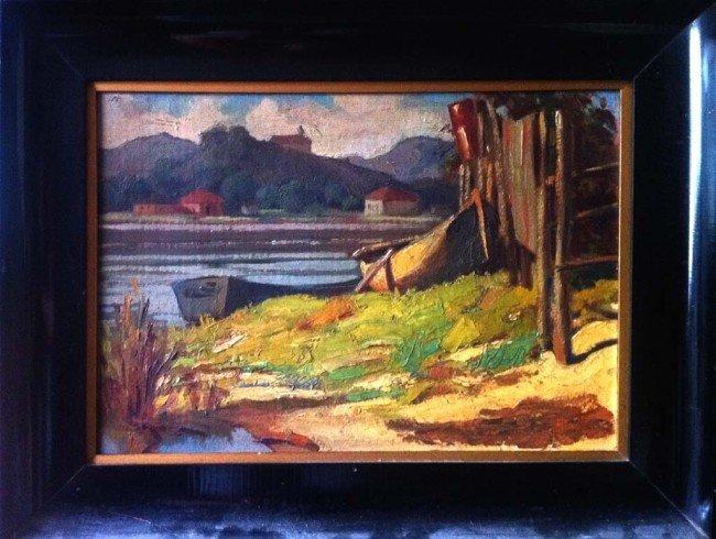 Joaquin Sorolla Oil Painting Original Art Boat Near Lak