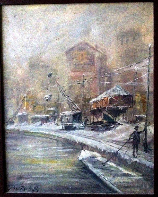 Giuseppe GIUSTI Oil Painting Original Milano Invernale