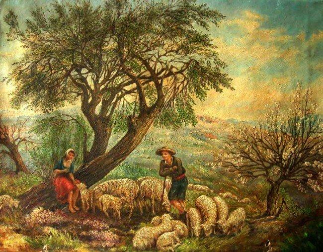 Attrib. Henri Rousseau Oil Painting Original Art Peasan