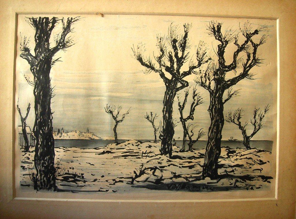 Andre Derain Watercolor Original Art Trees