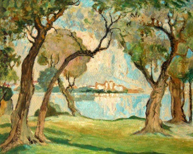 French 19th Century Impressionist Watercolor Lands