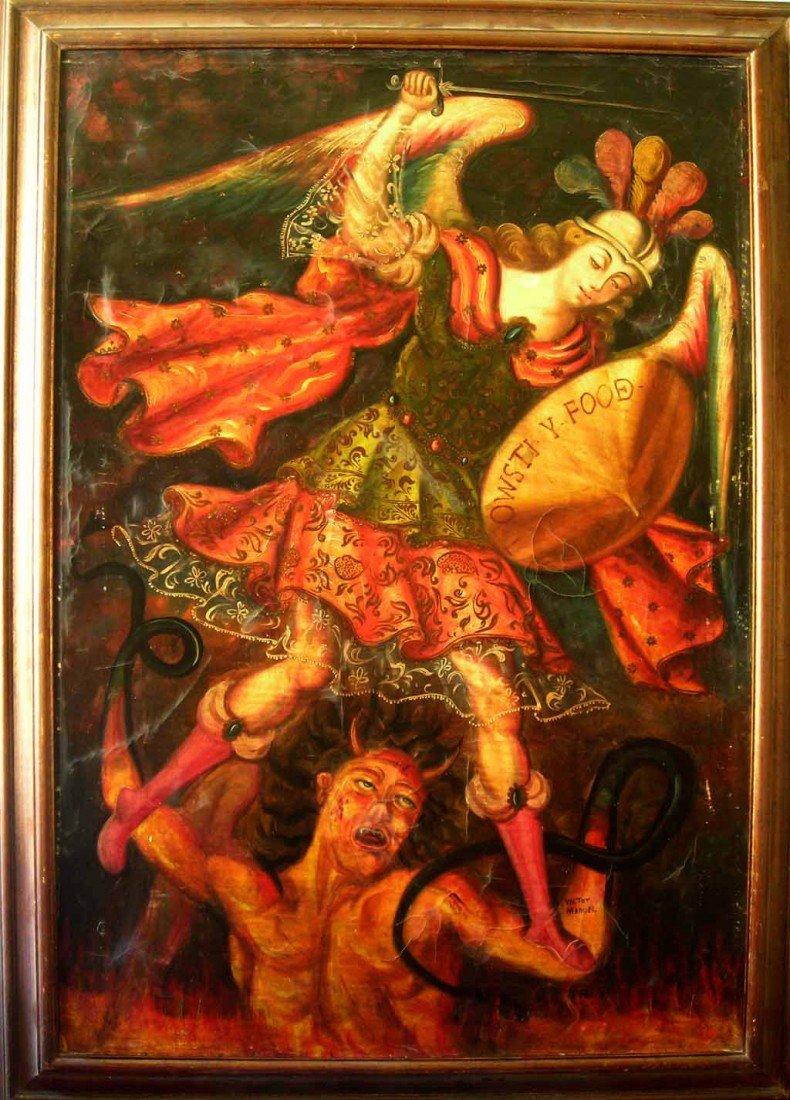 Cusquenha School Oil Painting Original Art Angel And De