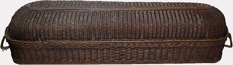Wicker Coffin Casket 1890's Funeral Home Collectible - 5