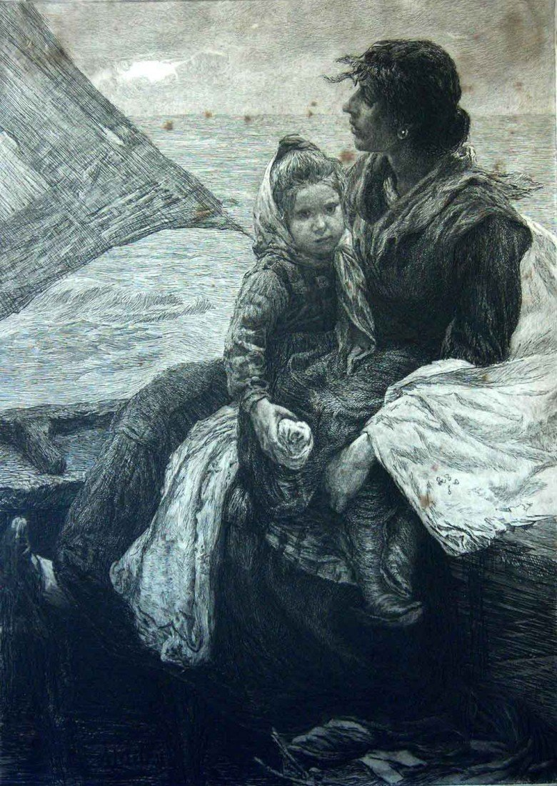 Alessandro Milesi Drawing Original Art Mother and Child