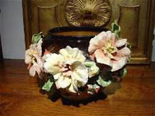 Antique French Gros Relief Barbotine Cache Pot