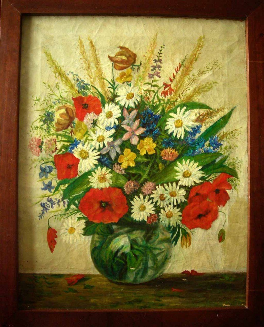 Giuseppe Sobrile Oil Painting Original Art, Floral