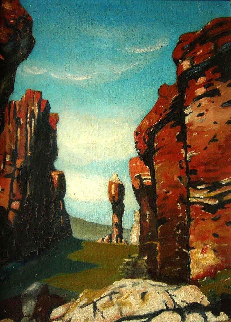 Giorgio De Chirico Oil Painting Original Art, Landscape