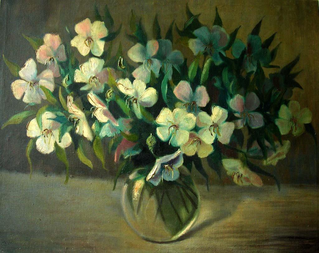 Att. Carl Moll Oil Painting Original Art Flowers